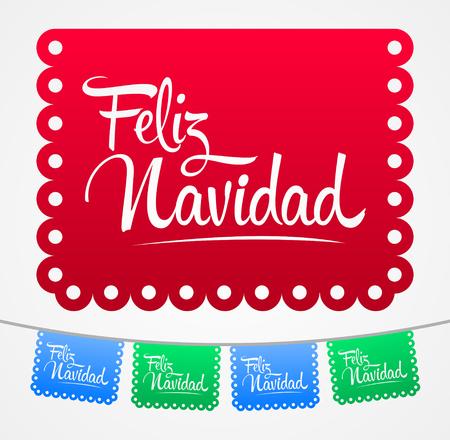 Feliz Navidad, Merry Christmas spanish text vector lettering decoration