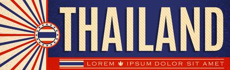 Thailand patriotic vintage banner design, typographic vector illustration, Thai flag colors Vettoriali