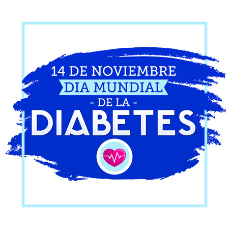 Dia mundial de la Diabetes, World Diabetes Day 14 november spanish text. Vector illustration card, poster or banner