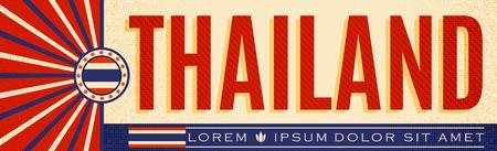 Thailand patriotic vintage banner design, typographic vector illustration, Thai flag colors 写真素材 - 114367021