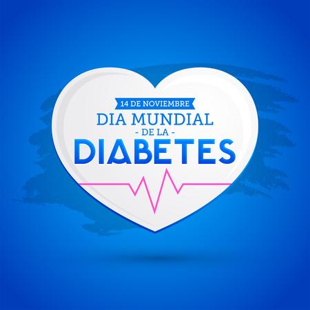 Dia mundial de la Diabetes, World Diabetes Day 14 november spanish text, vector Diabetes heart symbol, emblem, icon. Ilustrace