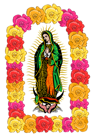 Vierge de Guadalupe, couleur Roses isolé illustration vectorielle