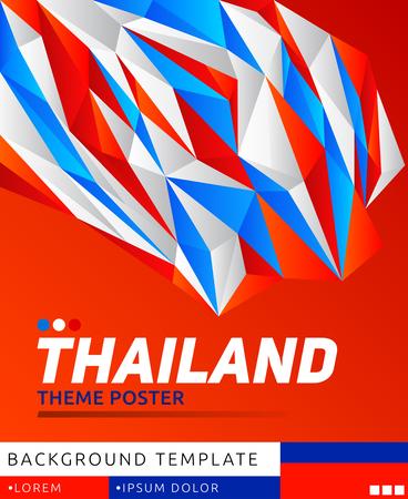 Thailand Theme modern Poster, vector template illustration, Thai flag colors Vettoriali