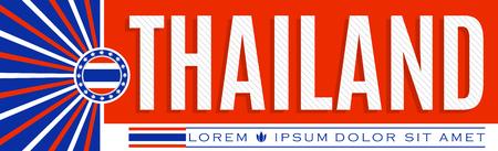 Thailand patriotic Banner design, typographic vector illustration, Thai flag colors