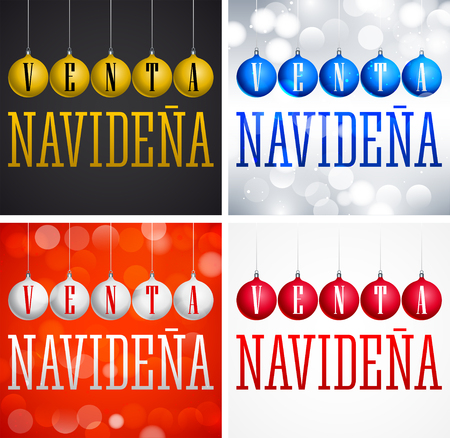 Venta Navidena, Christmas Sale spanish text, christmas balls Vector Set Collection Ilustrace