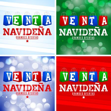 Venta Navidena, Christmas Sale Spanish text, shopping bags Vector Set Collection