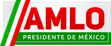 AMLO Andres Manuel Lopez Obrador, Presidente de Mexico, Mexican president spanish text, vector banner