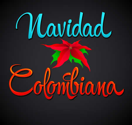 Navidad Colombiana, Colombian Christmas spanish text, Vector Lettering Holiday design Vectores