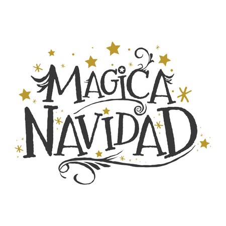 Magica Navidad, Magic Christmas Spanish text, Fantasy Holiday Lettering vector Иллюстрация