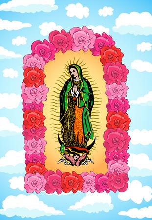 Vierge de Guadalupe, couleur Roses et Sky Vector illustration Vecteurs