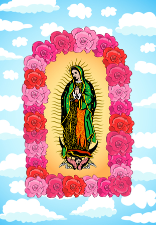Virgin of Guadalupe, color Roses and Sky Vector illustration