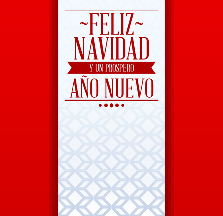 Feliz Navidad y Prospero Ano Nuevo, Merry Christmas and Happy New Year Spanish text, holiday Vector Template card