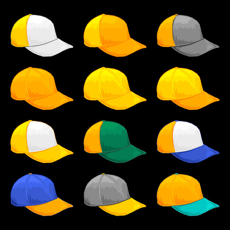 Yellow Cap, Vector Variety of color Combinations caps Template
