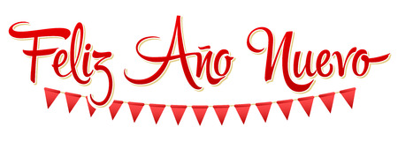 Feliz Ano Nuevo, Happy New Year spanish text, Vector Holiday Lettering design Ilustração
