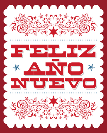 Feliz Ano Nuevo, Happy New Year spanish text, Vector holiday card poster design Illustration