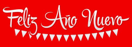 Feliz Ano Nuevo, Happy New Year spanish text, Vector Holiday Lettering design Ilustração