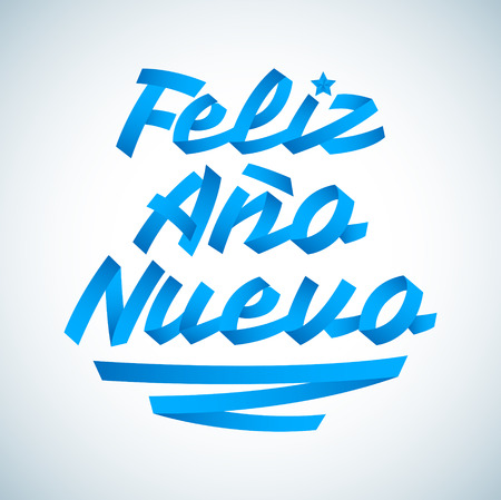Feliz Ano Nuevo, Happy New Year spanish text, Vector Lettering made with Ribbons