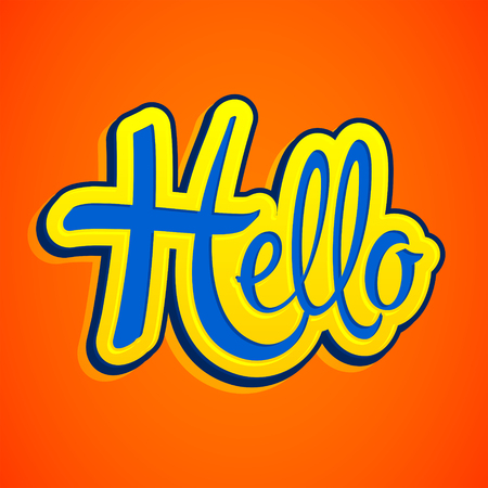 Hello emblem vector lettering illustration