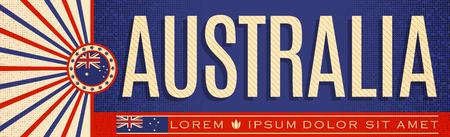 Australia Patriotic vintage Banner design, typographic vector illustration, Australian Flag colors