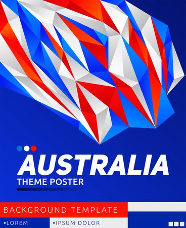 Australia Theme modern Poster, vector template illustration, Australian flag colors  イラスト・ベクター素材
