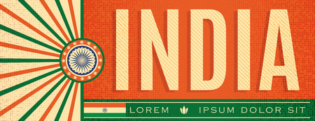 India Patriotic vintage Banner design, typographic vector illustration, Indian Flag colors 向量圖像