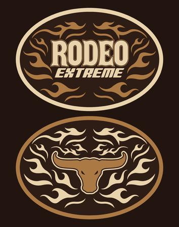 Vintage Label Western Style vector design Extreme Rodeo cowboy belt buckle Illustration