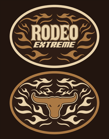 Vintage Label Western Style vector design Extreme Rodeo cowboy belt buckle 矢量图像
