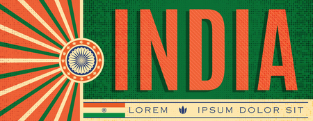 India Patriotic vintage Banner design, typographic vector illustration, Indian Flag colors  イラスト・ベクター素材