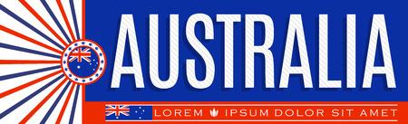 Australia Patriotic Banner design, typographic vector illustration, Australian Flag colors  イラスト・ベクター素材
