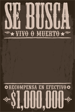 Se Busca Vivo o Muerto, Wanted Dead or Alive poster spanish text template, One million reward