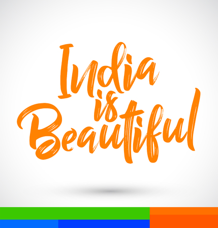 India is Beautiful Vector Lettering illustration  イラスト・ベクター素材
