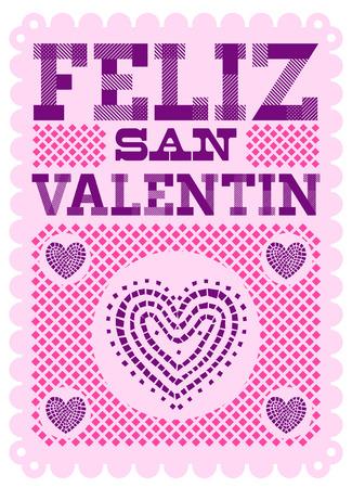 Feliz San Valentin, Happy Valentines day spanish text Vector design Illustration