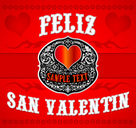 Feliz San Valentin, Happy Valentines spanish text, Cowboy Western style card 写真素材 - 118829060