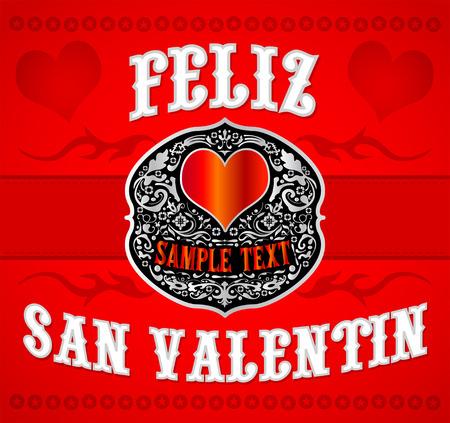 Feliz San Valentin, Happy Valentines spanish text, Cowboy Western style card