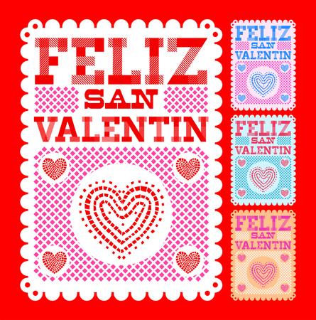 Feliz San Valentin, Happy Valentines day spanish text Vector set collection  design