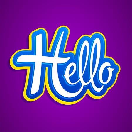 Hello Emblem vector Lettering illustration
