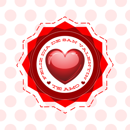 Feliz Dia De San Valentin, Te Amo, Happy Valentines Day I Love You spanish text, vector illustration heart