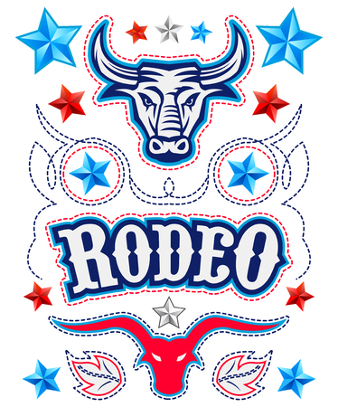 Rodeo Poster Elements, Bull, Rope and American stars vector set Illustration