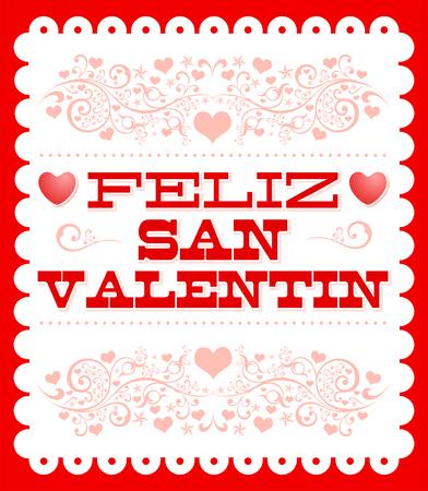 Feliz Dia de San Valentin, Happy Valentines Day Spanish text vector card design Illustration