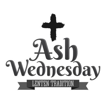 Ash Wednesday Christian Tradition vector emblem design Иллюстрация
