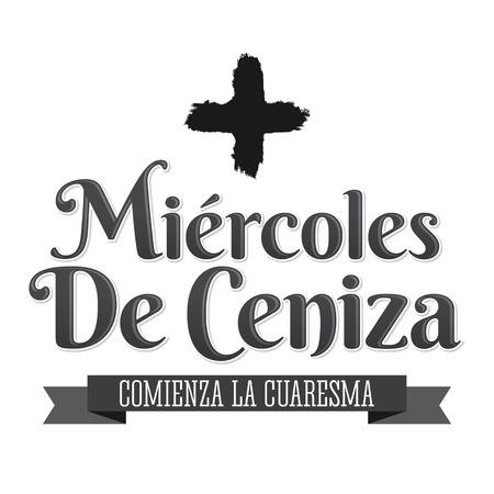 Miercoles de Ceniza, Ash Wednesday Spanish text, Christian tradition vector emblem