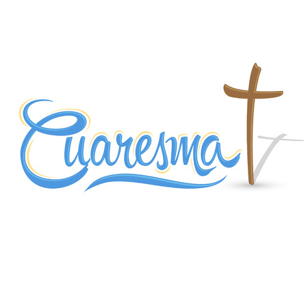 Cuaresma, Lent Spanish text, Vector lettering illustration and Cross, Latin Religious tradition 일러스트