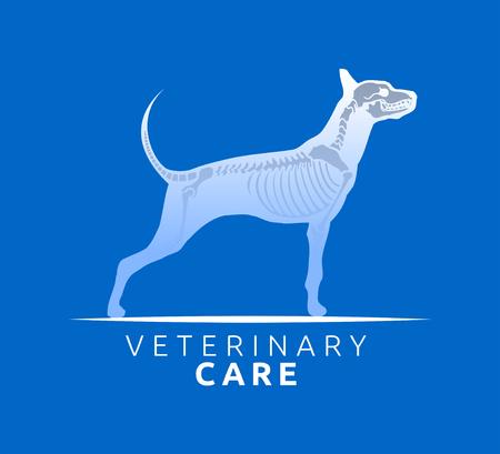 Veterinary Care Emblem Design, Bone Scan Dog Care vector illustration Standard-Bild - 118829099