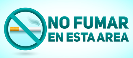 No Fumar en esta Area, No Smoking in this Area spanish text, vector sign illustration.