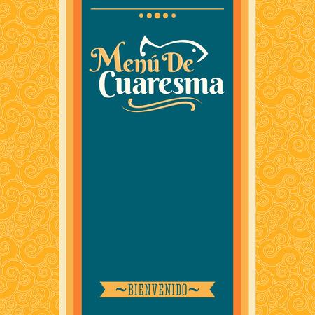 Menu de Cuaresma, Lenten Menu Spanish text, Lent Sea Food vector Menu cover design