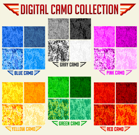 Color Camo Seamless Vector Digital Camouflage collection, Pattern Set