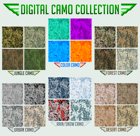 Military Digital Camouflage Camo Seamless Vector collection, Pattern Set