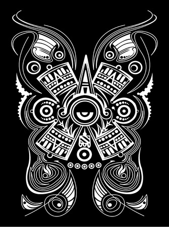 Mayan Aztec Concept Stylized Symbol Vector illustration, Tattoo Tribal Style