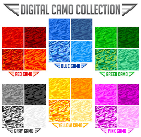Color Camo Seamless Vector Camouflage collection, Pattern Set