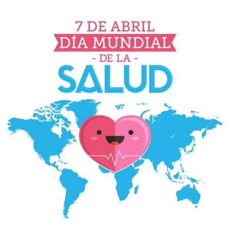 Dia Mundial de la Salud, World Health Day April 7 spanish text, vector illustration